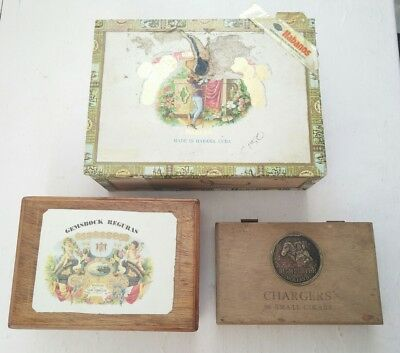 Empty Wood Cigar Boxes - Mixed Lot Of 3