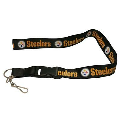 PITTSBURGH STEELERS NFL Team Lanyard Key Ring Keychain ID Holder Safety Clip NWT