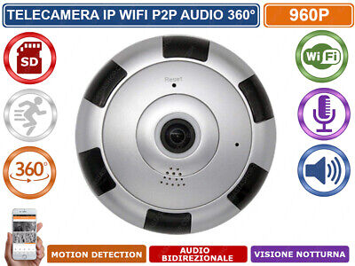 Telecamera Ip Panoramica Ottica Fish Eye 360° Wireless Wifi Registra Su Sd Card