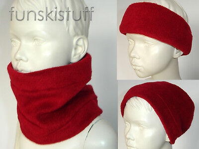 Infant deep red boys girls kids warm NECK WARMER fleece scarf snood childrens