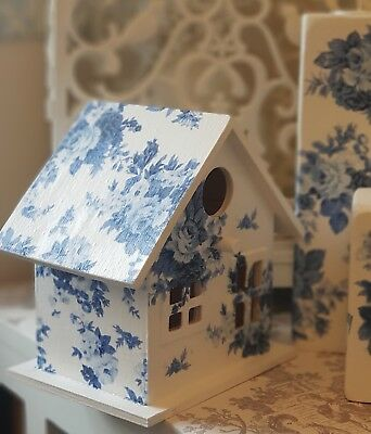 ❤ Stunning Large Shabby Chic Birdhouse French Vintage Style Blue & White Roses