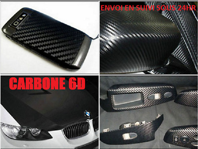 Film covering carbone 6D thermoformable noir 75x20 cm