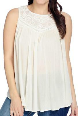 ad628c3eb66 NEW - Indigo Thread Co.™ Woven Gauze Keyhole Back Lace Detailed Tank Top -