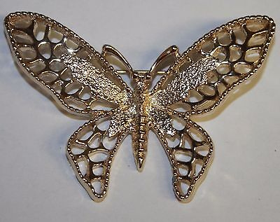 Butterfly Pin Brooch Signed Sarah Coventry Vintage Estate Polished Gold Tone