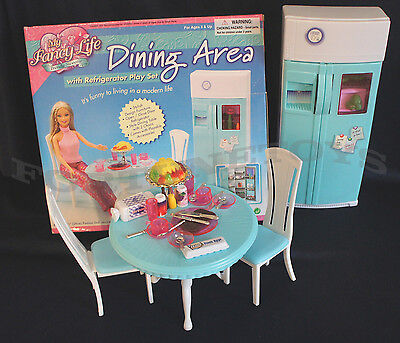 FANCY LIFE DOLLHOUSE FURNITURE DINING Area w/Refrigerator PLAYSET FOR BARBIE
