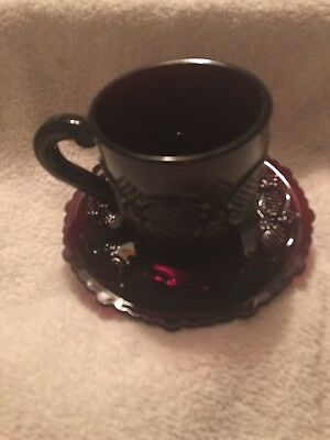 Vintage Avon 1876 Cape Cod Ruby Red Glass Cup & Saucer Set