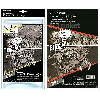 Ultra PRO 100 x Resealable Current Size Comic Bags + 100 Backing Boards Bundle