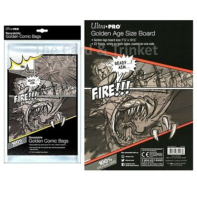Ultra PRO 100 x Resealable Golden Size Comic Bags + 100 x Backing Boards Bundle
