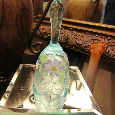 Beautiful Turquoise Fenton Bell With Daisies   Hand Painted And Signed