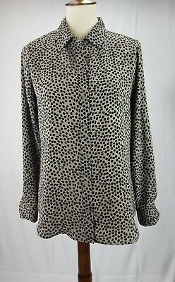 3a64269d95f Apt 9 Womens Size Small S Blouse Button Down Long Sleeve brown black top v  neck