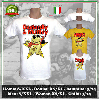T-Shirt Dastardly & Muttley Star Wacky Races Cartoons Cartone Uomo Donna Bambino