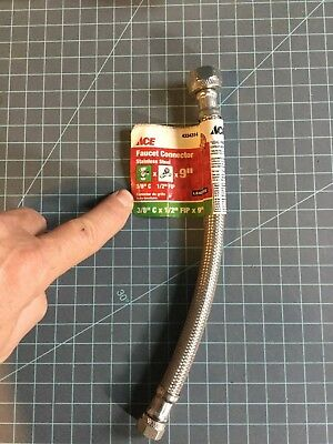 """Ace brand Faucet Sink Connector Water Supply Line 1/2 FIP x 3/8 compression 9"""""""