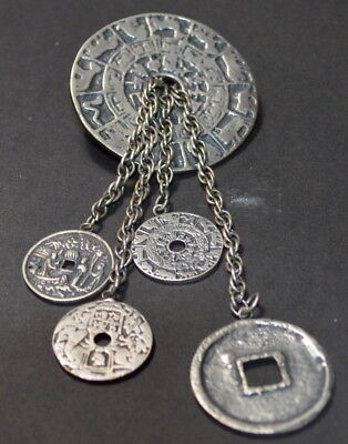 Rare Antique Joseff of Hollywood Silver Tone Ancient Eqyptian Coins Brooch