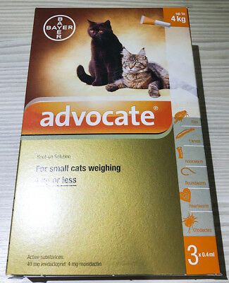 3 x 0.4mL ADVOCATE FOR KITTENS AND SMALL CATS UP TO 4KG [2 pack]