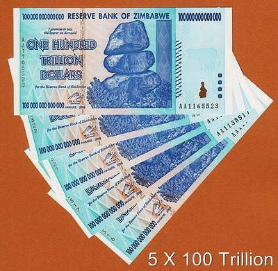 Zimbabwe 5 X 100 Trillion Dollars AA 2008 Pick-91 UNC AUTHENTIC, UV Passed