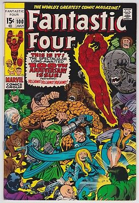 Fantastic Four #100 VF-NM 9.0 Anniversary Issue Stan Lee Jack Kirby Art!