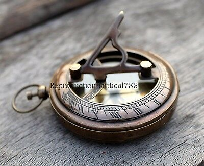 Antique Solid Brass Push Button Compass Handmade Working Compass Vintage Decor