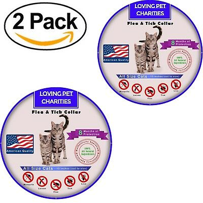 2 Pack Flea And Tick Collar For Cats - 8 Months Protection - One Size Fits All
