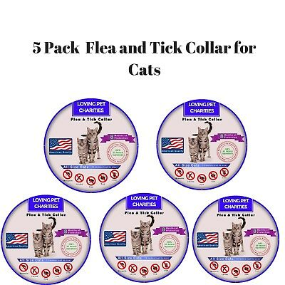 5 Pack Flea And Tick Collar For Cats - 8 Months Protection - One Size Fits All
