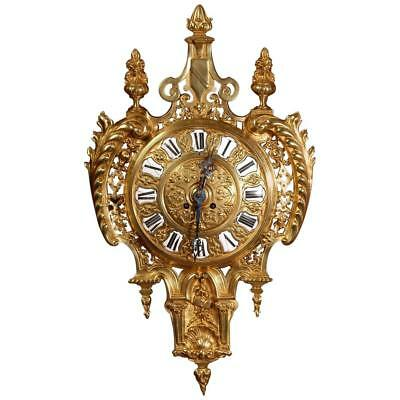 Antique French Gilt Bronze Cartel Wall Clock - L@@k!