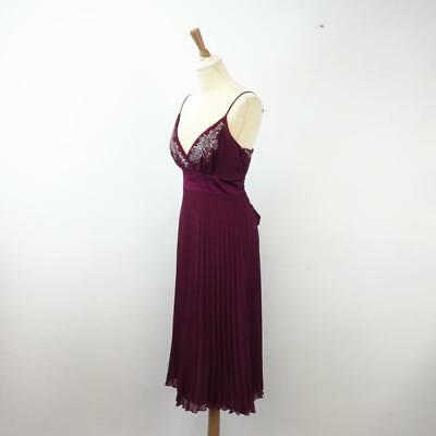 Monsoon Burgundy Pleated V-Neck Cocktail Dress with Bead Embroidered Bodice UK12