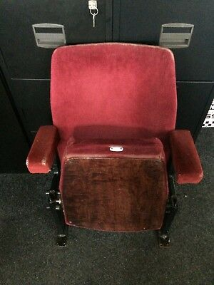 Vintage Red Cinema Seats X 2 Folding Theatre Chairs Retro Upcycling Project