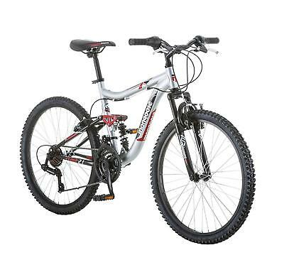 Boys Mountain Bike 24 Silver Red Aluminum Full Suspension Frame