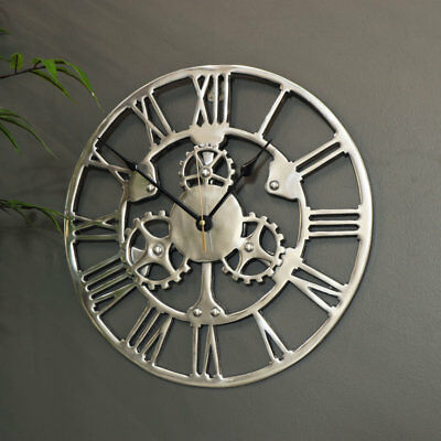 Silver metal cog skeleton wall clock vintage retro industrial chic decor gift