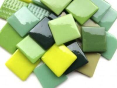 Green Mix Gloss Glass Mosaic Tiles 2.5cm - Art Craft Supplies