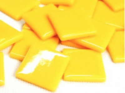 Warm Yellow Gloss Glass Mosaic Tiles 2.5cm - Art Craft Supplies