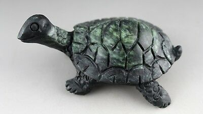 4.2'' Chinese dark green jade hand-carved tortoise statue gift collect 0767