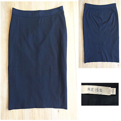 Kleidung & Accessoires Reiss Niko Black Pencil Skirt Work Formal Lined Wool Blend Uk 10