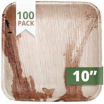 """100X CaterEco BIODEGRADABLE DISPOSABLE 10"""" Square Palm Leaf Dinner Plates"""