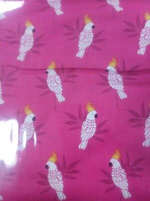 f6862af5c7b9 Makower Monsoon Pink Cockatoo, 100% cotton fabric, fat quarter, free p&p,