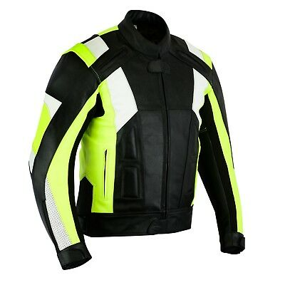 Leather Motorcycle Motorbike Jacket Black Hi-Vis Mens Texpeed CE Armoured -  XL 872177f09