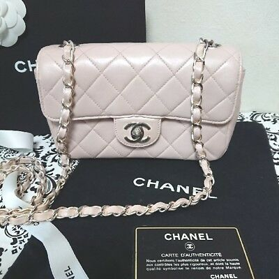 91701311dbf9ee Auth CHANEL Shoulder Bag Pink Matelasse Crossbody Flap Logo Quilted Mini  B3437