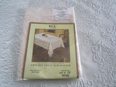 Beige Crochet Soft VINYL LACE TABLECLOTH by BEA 54 x 72 New NIP    BUY IT NOW