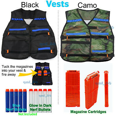Nerf Tactical Vest Jacket + Refill Bullets Clip Cartridge Kit For Toy Guns Elite