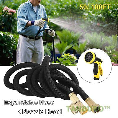 Deluxe 50 100 Feet FT Expandable Flexible Garden Water Hose with Spray Nozzle