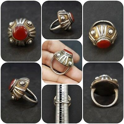 Silver And Gold Plated Old Ring Unique Found With Red Yemeni Agate Stone #12Q