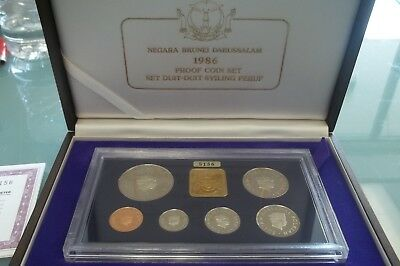 1986 NEGARA Brunei Darussalam SINGAPORE MINT PROOF SET WOODEN BOX & COA