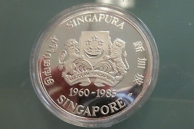 1985 $5.00 Singapore Sterling Silver 25 Years Public Housing Comm. Coin Coa