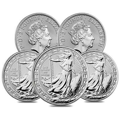Lot of 5 - 2019 Great Britain 1 oz Silver Britannia Oriental Border Coin BU