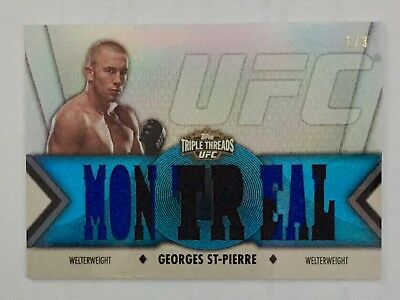 2013 Topps UFC Knockout Georges St-Pierre Sapphire Triple Threads Relic 1/3