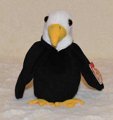 TY BEANIE BABY Baldy The Bald Eagle 1996 Retired PVC Plush Bird ... 7c30b770f3a9