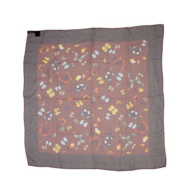DOLCE   GABBANA Brown Sheer Silk Multicolor Butterfly Print Square 90cm  Scarf 603d1960b05