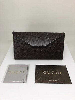 New GUCCI Case Sunglasses Eyeglasses Brown Leather Folding New Large Gucci Case
