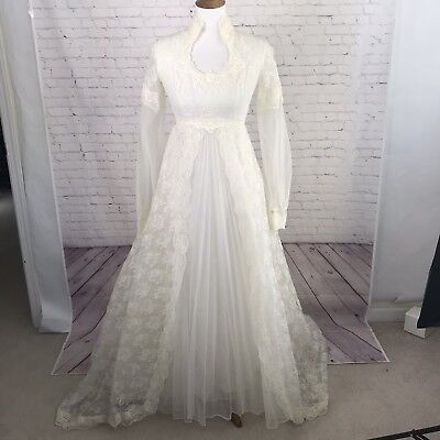 Vintage 70's Wedding Dress Long Sleeve Union Label Ivory Lace