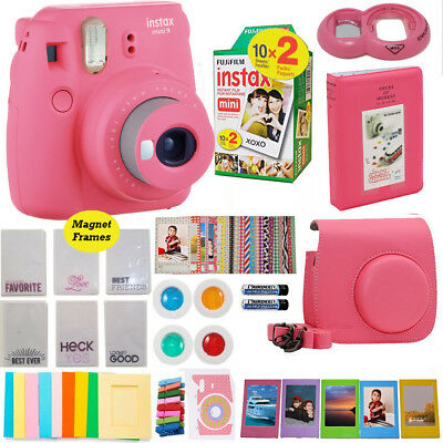 Fujifilm Instax Mini 9 Instant PINK Camera + 20 Fuji Film Sheet Valentine Bundle