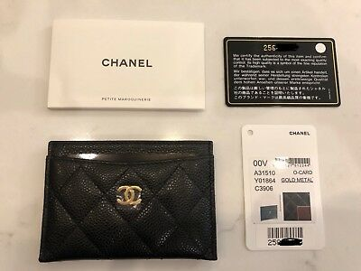 100% AUTH CHANEL CLASSIC CARD HOLDER BLACK CAVIAR GOLD HARDWARE ... 4bf729877ddb2